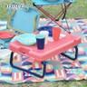 【日本BISQUE】野餐露營餐具摺疊桌組紅