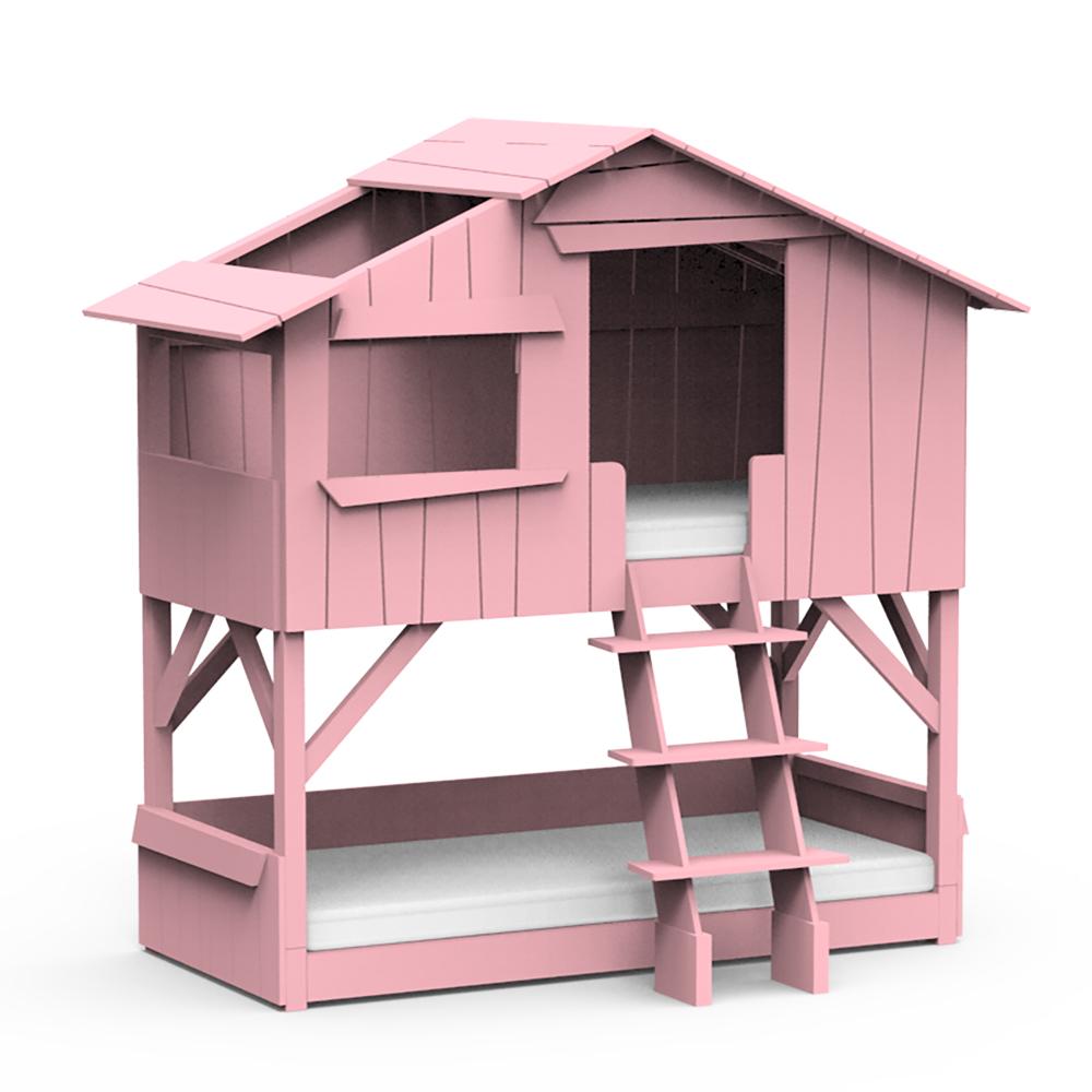 比利時 Mathy by Bols 樹屋雙層兒童床 90x190-亮粉色