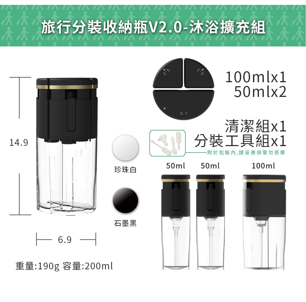 TIC BOTTLE V2.0沐浴擴充組的內容物2個40ml2個20ml的分裝瓶