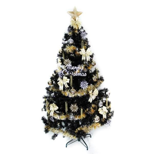 【摩達客】台灣製15呎/15尺(450cm)時尚豪華版黑色聖誕樹(+金銀色系配件組)(不含燈)