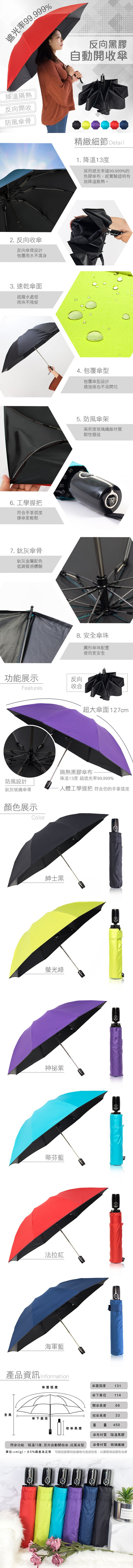 雙龍TDN 、收的妙、雙龍牌、反向傘、抗UV、黑膠傘、自動傘、開收傘