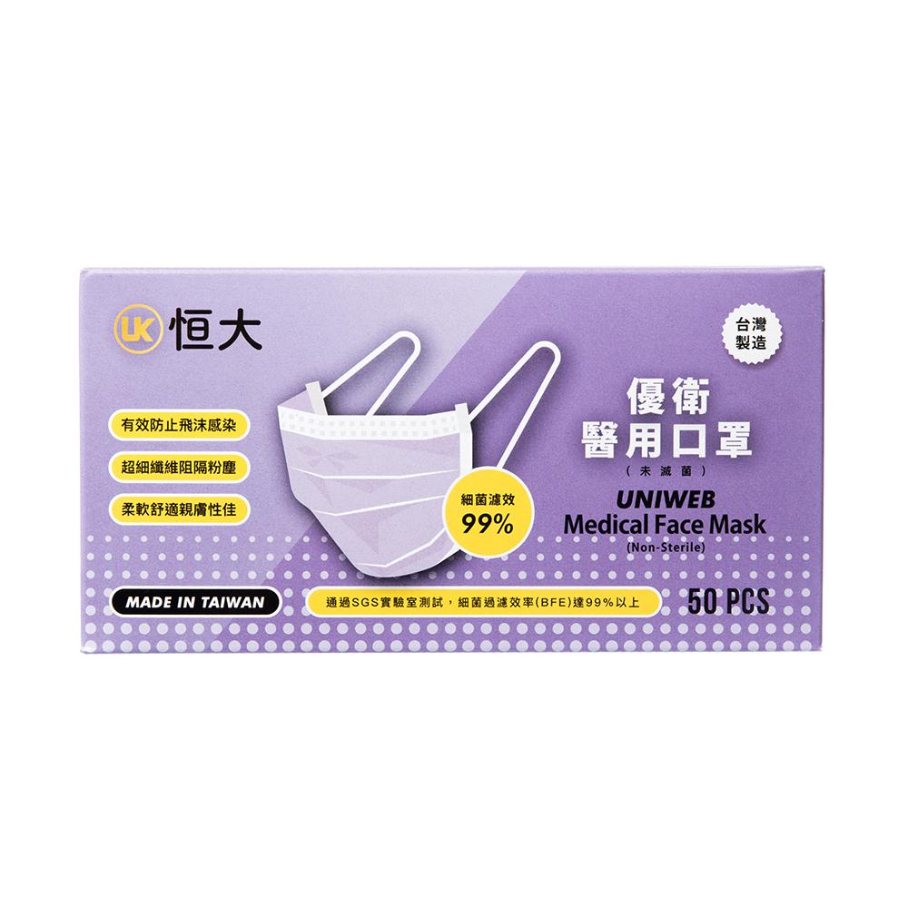 [特價]恆大成人醫用口罩 50片/盒 紫羅蘭