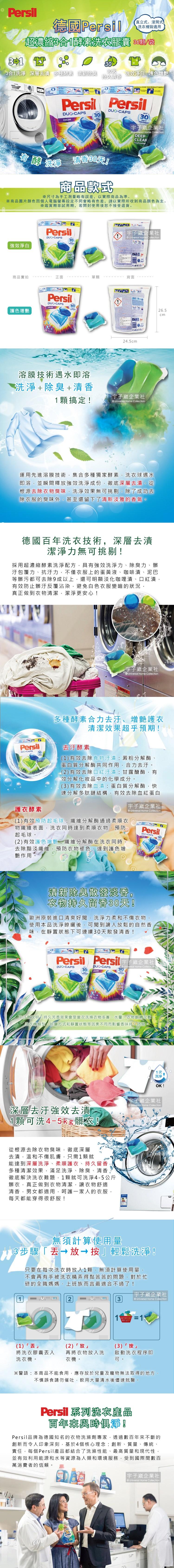 德國Persil-超濃縮3合1酵素洗衣膠囊36顆袋裝介紹圖