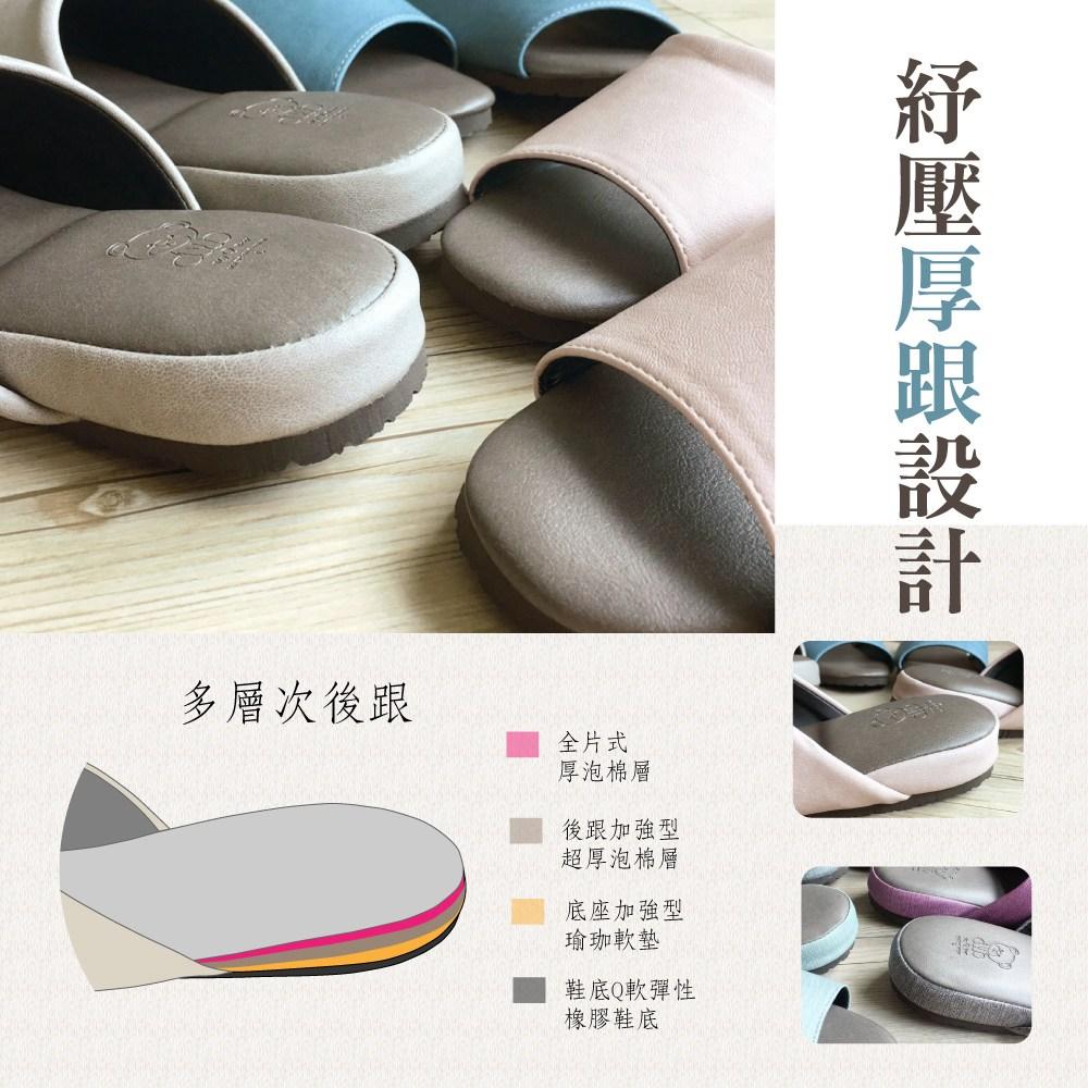 極致風格-厚跟紓壓皮質室內拖鞋-3