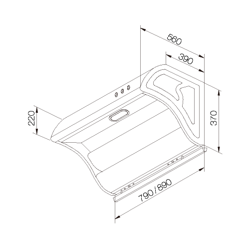 斜背直吸式油煙機 (TURBO馬達)-熱水器