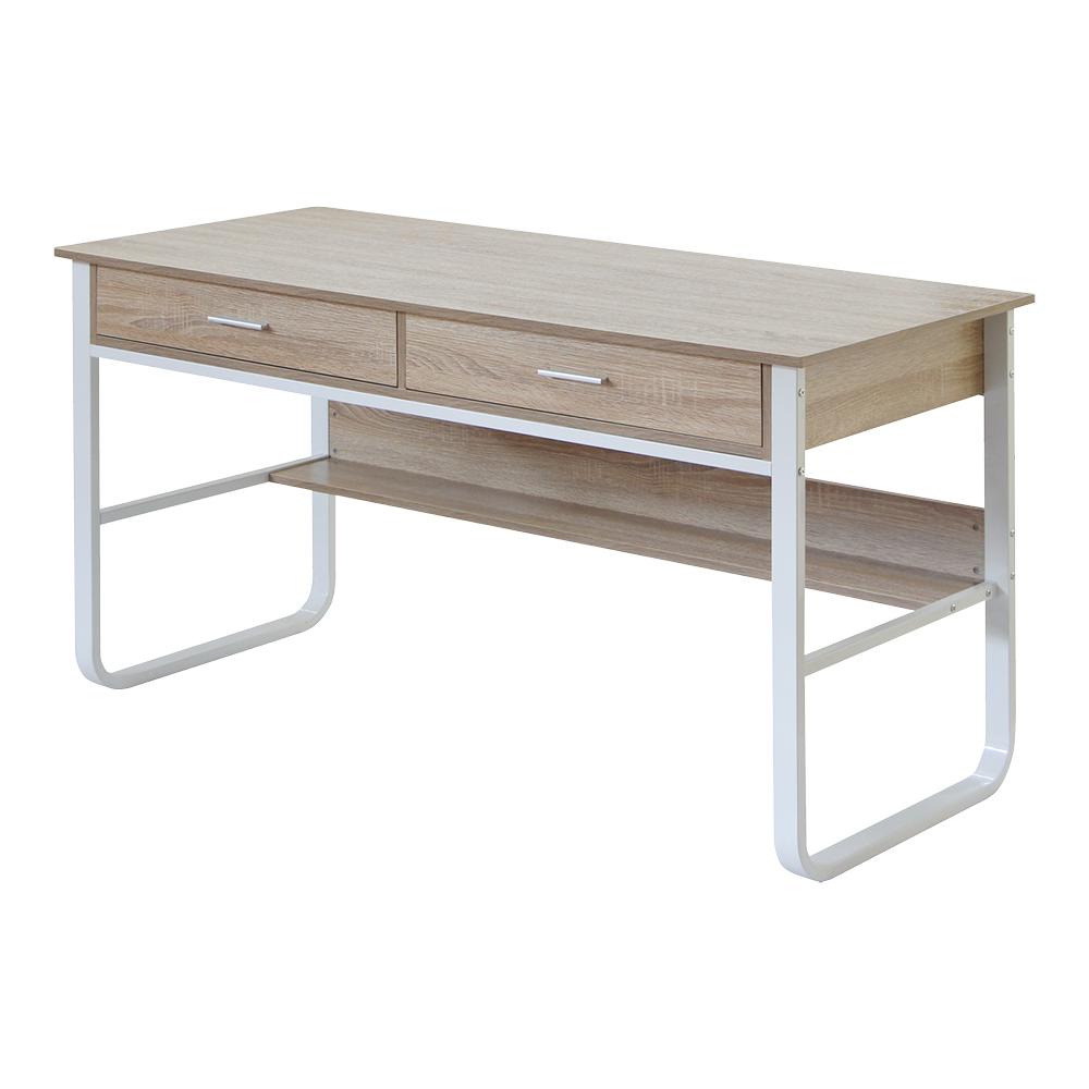 [特價]【RICHOME】杜克雙抽工作桌白橡木色