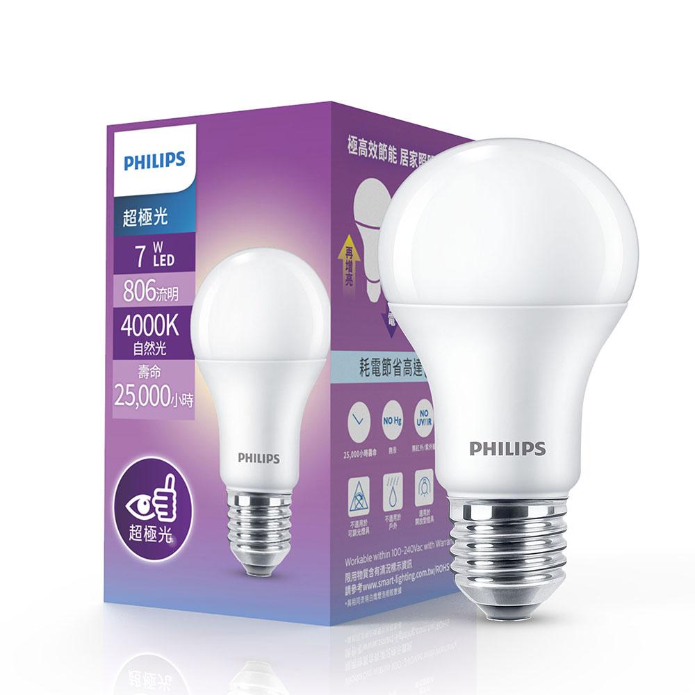 [特價]Philips 飛利浦 超極光 7W LED燈泡 12入白色4000K 12入