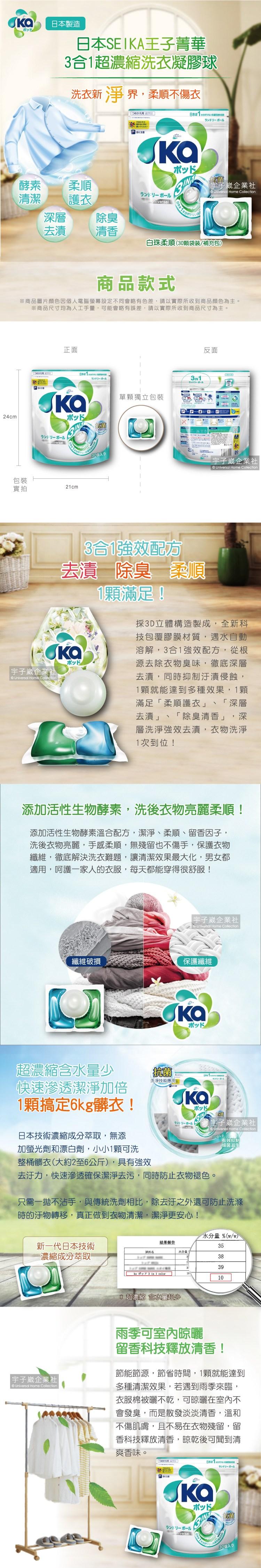 日本SEIKA王子菁華3合1超濃縮洗衣凝膠球-白珠柔順(30顆袋裝)介紹圖